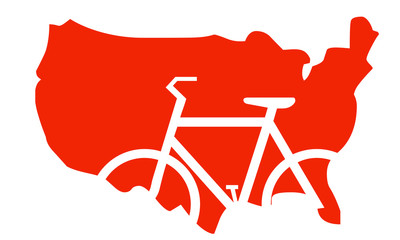 Mappa USA con indicazione bicicletta