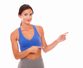 Lovely adult woman training with vitality