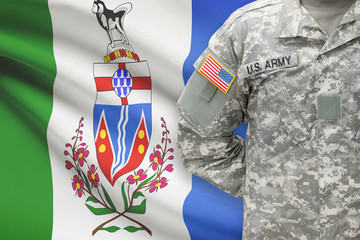 American soldier with Canadian province flag - Yukon