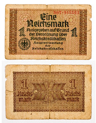 1 reichsmark bill of Germany isolated on white