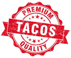 tacos red grunge seal isolated on white