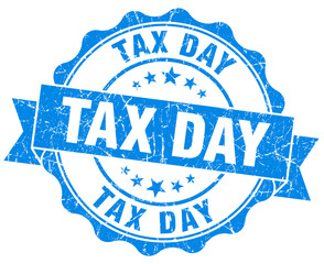 tax day blue grunge seal isolated on white