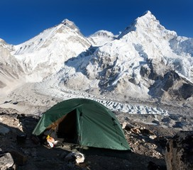 Everest, Lhotse and nuptse with tent