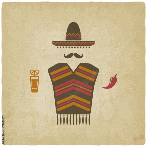 Mexican man with tequila and chili pepper - 77088671