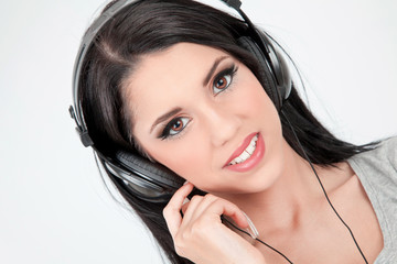 Woman smile with headphones