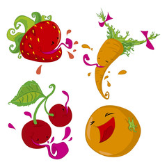 Set of illustrations of fruits and vegetables.