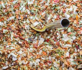 Dry spices and silver shovel
