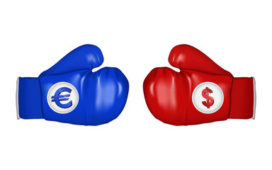 Boxing gloves of euro and dollar ready to fight