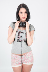 Sensual girl with headphones