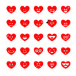 Collection of difference emoji heart icon on the white backgroun