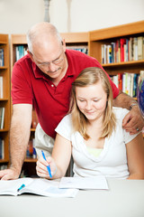 Dad or Teacher Helps Student