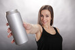 Fit girl handles a beverage container
