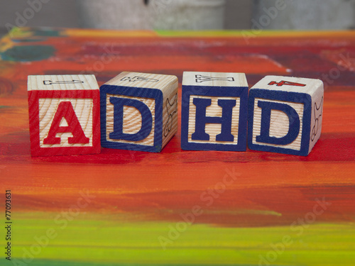 Attention Deficit Hyperactivity Disorder (ADHD) alphabet blocks - 77093631