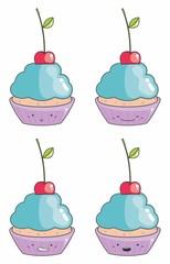 Desenho cupcake emoticons 01