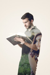 Double exposure of a man reading a book and a girl longing for h