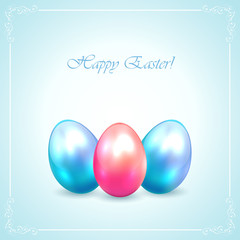 Three Easter eggs on blue background