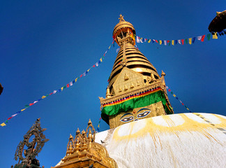 Stupa Swayambhunath with blue sky
