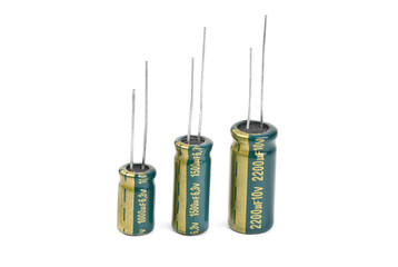 Electrolytic Capacitors in green isolated on white