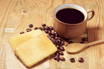 Black coffee and cookies