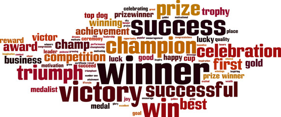 Winner word cloud concept. Vector illustration