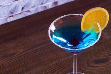 Blue Lagoon Margarita Cocktail in the bar.