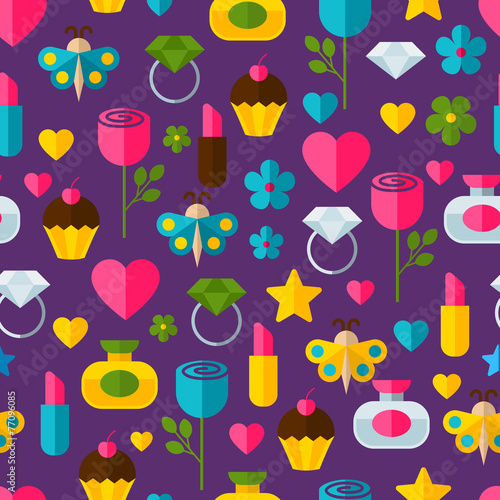 Materiał do szycia Abstract colorful gifts seamless pattern. Birthday, Valentines,