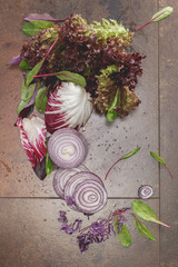 Mix of different kinds of purple vegetable