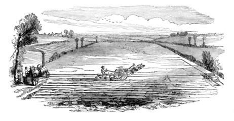 Victorian engraving of a  farmer using a steam plough
