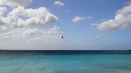 Landing approach of passenger plane. Philipsburg, Saint-Martin