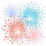 Red blue fireworks - 77097679