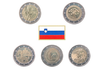 Collection of commemorative coins of Slovenia isolated on white