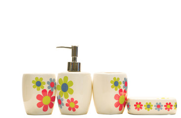 various beauty hygiene containers on white background