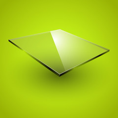 Glass framework on green background.