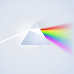 Glass prism on light background