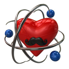 Red heart with mustaches and blue atoms