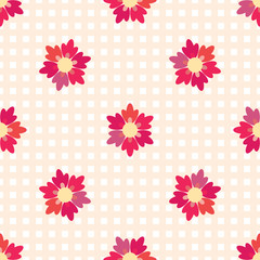 Seamless background of flowers on cells