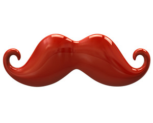 Orange mustache isolated on white background