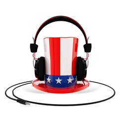 Uncle Sam Hat with Headphones on White Background
