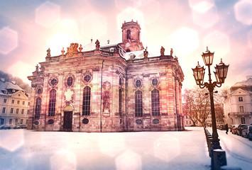 Saarbrücken - Winterliche Ludwigskirche im Schnee