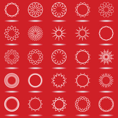 Set of simple spirographic figures on  red background.