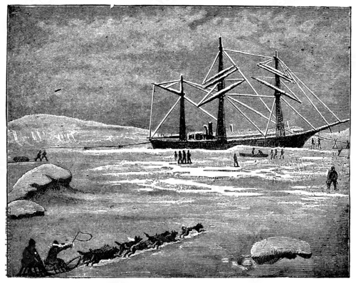 Victorian engraving of an Arctic steamship - 77100425