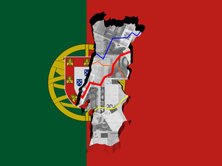 Portugal map with flag and graphs on Euros illustration