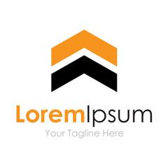 Two stripe badge arrow upload element icons business logo