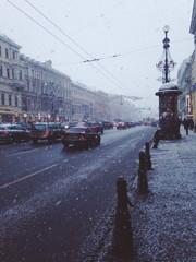 Снегопад на Невском проспекте. Санкт-Петербург