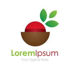 Healty diet fruit bowl element icon logo for business