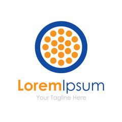 Blue circle orange dots element icon logo for business
