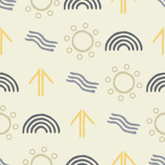 seamless background with symbols of Australian aboriginal art