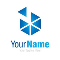 Business glass blue shape hexagon graphic design logo icon