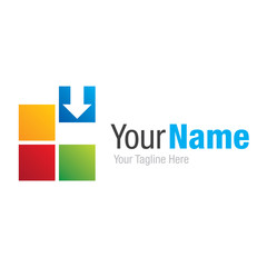 Create your business colorful squares graphic design logo icon