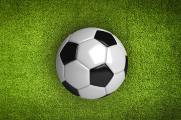 Green grass Background and soccer ball